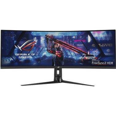 43 ASUS ROG STRIX XG43VQ Super Ultra-Wide FreeSync2 Curved Gaming Monitor With Speakers And Height Adjust