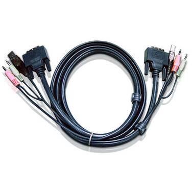 3 Metre ATEN 2L-7D03UD Dual Link DVI USB & Audio Male KVM Cable