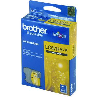 Brother LC-67HY-Y Yellow Inkjet Cartridge (750 Pages)