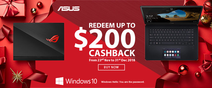 ASUS up to $200 Cash Back Front 2018